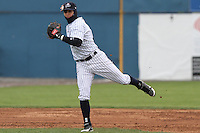 Scranton/Wilkes-Barre Yankees infielder Ramiro Pena tries to make a play iin the third inning at Dwyer Stadium  in Batavia, New York on April 22, 2012.