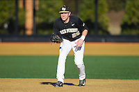 Wake Forest Demon Deacons first baseman Matt Conway (25) on defense against the Missouri Tigers at Wake Forest Baseball Park on February 22, 2014 in Winston-Salem, North Carolina.  The Demon Deacons defeated the Tigers 1-0.  (Brian Westerholt/Four Seam Images)
