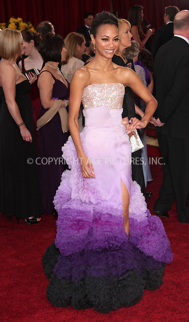 WWW.ACEPIXS.COM . . . . .  ....March 7 2010, Hollywood, CA....Actress Zoe Saldana arrives at the 82nd Annual Academy Awards held at Kodak Theatre on March 7, 2010 in Hollywood, California.....Please byline: Z10-ACE PICTURES... . . . .  ....Ace Pictures, Inc:  ..Tel: (212) 243-8787..e-mail: info@acepixs.com..web: http://www.acepixs.com