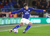 26th November 2019; Cardiff City Stadium, Cardiff, Glamorgan, Wales; English Championship Football, Cardiff City versus Stoke City; Callum Paterson of Cardiff City crosses the ball - Strictly Editorial Use Only. No use with unauthorized audio, video, data, fixture lists, club/league logos or 'live' services. Online in-match use limited to 120 images, no video emulation. No use in betting, games or single club/league/player publications