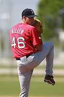 Boston Red Sox minor league pitcher John Killen (46) during a game vs. the Minnesota Twins in an Instructional League game at Lee County Sports Complex in Fort Myers, Florida;  October 1, 2010.  Photo By Mike Janes/Four Seam Images