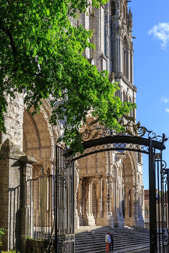 France, Eure-et-Loir (28), Chartres, la cathédrale Notre-Dame de Chartres, classé au Patrimoine  mondial de l'UNESCO, le portail Nord aussi appelé  portail de l'Alliance et le portail du jardin de l'ancien évêché // France, Eure et Loir, Chartres,  Notre Dame de Chartres Cathedral, listed as a World Heritage by UNESCO, Northern portal also called portal Alliance