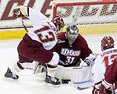 Cam Atkinson (BC - 13), Paul Dainton (UMass - 31) - The Boston College Eagles defeated the University of Massachusetts-Amherst Minutemen 5-2 on Saturday, March 13, 2010, at Conte Forum in Chestnut Hill, Massachusetts, to sweep their Hockey East Quarterfinals matchup.