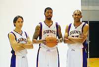 Dec. 16, 2011; Phoenix, AZ, USA; Phoenix Suns guard Steve Nash (left) forward Markieff Morris (center) and forward Grant Hill pose for a portrait during media day at the US Airways Center. Mandatory Credit: Mark J. Rebilas-