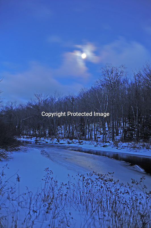 Moonlight on the Ashuelot River Early Christmas Eve Morning in Marlow, New Hampshire