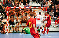 20200201 Herentals , BELGIUM :  Belgium's Lucas Diniz Pinheiro (9) scores during a futsal indoor soccer game between the Belgian Futsal Devils of Belgium and Montenegro on the third and last matchday in group B of the UEFA Futsal Euro 2022 Qualifying or preliminary round , Saturday 1st February 2020 at the Sport Vlaanderen sports hall in Herentals , Belgium . PHOTO SPORTPIX.BE | Sevil Oktem