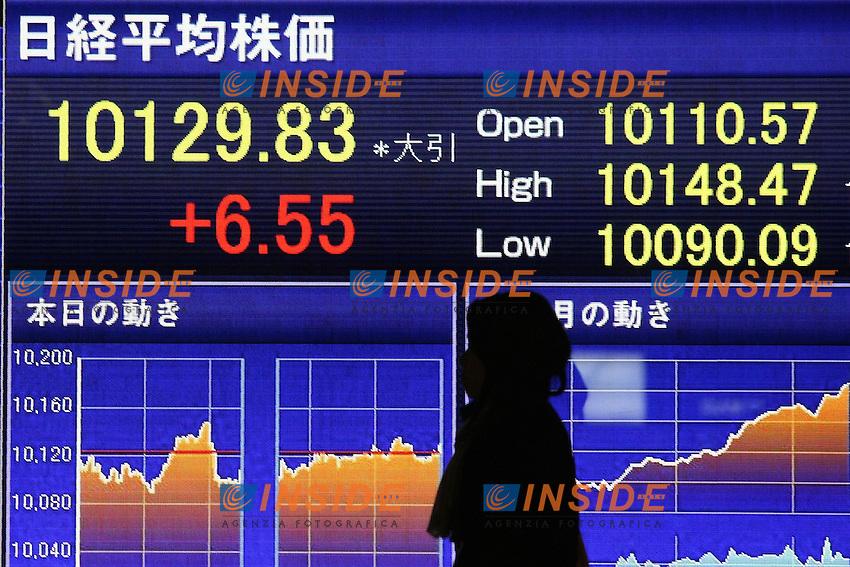 Indice Nikkei in crescita..Visualizzazione su tabelloni Elettronici degli indici di mercato.Tokyo 16/3/2012 .Foto Insidefoto / Hitoshi Yamada / Panoramic.ITALY ONLY