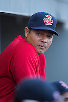 Elizabethton Twins pitching coach Luis Ramirez (19) during the game against the Kingsport Mets at Hunter Wright Stadium on July 9, 2015 in Kingsport, Tennessee.  The Twins defeated the Mets 9-7 in 11 innings. (Brian Westerholt/Four Seam Images)