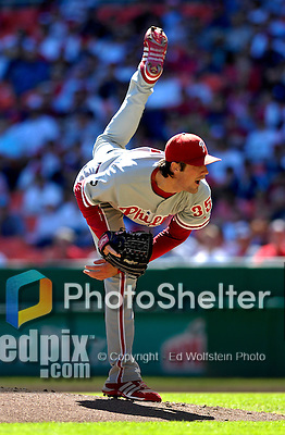23 September 2007: Philadelphia Phillies starting pitcher Cole Hamels in action against the Washington Nationals at Robert F. Kennedy Memorial Stadium in Washington, DC. The Nationals defeated the visiting Phillies 5-3 to close out the 2007 home season and the final game in baseball history at RFK Stadium. The Nationals will open up the 2008 season at Nationals Park, their new facility currently under construction.. .Mandatory Photo Credit: Ed Wolfstein Photo