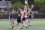 Santa Barbara, CA 02/19/11 - Christina Ricciardulli (San Diego State #34), Roxanne Alei (UC Berkeley #1), Heather Ullrich (UC Berkeley #16) and Katie Weisenberger (UC Berkeley #22) in action during the San Diego State - Cal Berkeley game at the 2011 Santa Barbara Shootout.