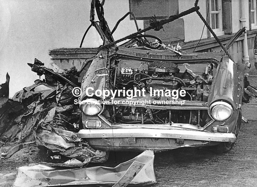 The tangled remains of the car in which RUC Reserve Constable Joseph Calvin, 42 years, married with one child, from Enniskillen, Co Fermanagh, N Ireland, died on 17th November 1972. The vehicle had been booby-trapped whilst he was on duty. The other reservist coming off duty had a miraculous escape. He was walking to his own car when the bomb detonated. He had sat chatting in his colleague's car whilst the car windows were demisting. 197211170632<br /> <br /> Copyright Image from Victor Patterson, 54 Dorchester Park, Belfast, UK, BT9 6RJ<br /> <br /> t1: +44 28 9066 1296 (from Rep of Ireland 048 9066 1296)<br /> t2: +44 28 9002 2446 (from Rep of Ireland 048 9002 2446)<br /> m: +44 7802 353836<br /> <br /> e1: victorpatterson@me.com<br /> e2: victorpatterson@gmail.com<br /> <br /> The use of my copyright images is subject to my Terms &amp; Conditions.<br /> <br /> It is IMPORTANT that you familiarise yourself with them. They are available on my website at www.victorpatterson.com.<br /> <br /> None of my copyright images may be used on a website unless they are visibly watermarked, i.e. &copy; Victor Patterson within the body of the visible image. Metadata denoting my copyright must NOT be deleted. <br /> <br /> Web use is extra at currently recommended NUJ rates.