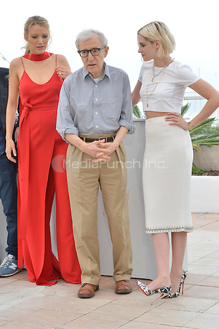 Blake Lively, Woody Allen, Kristen Stewart the 'Cafe Society' Photocall during the 69th Annual Cannes Film Festival at the Palais des Festivals on May 11, 2016 in Cannes, France.<br /> CAP/LAF<br /> &copy;Lafitte/Capital Pictures /MediaPunch ***NORTH AMERICA AND SOUTH AMERICA ONLY***