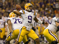 LSU quarterback Jordan Jefferson in action during BCS National Championship game against Alabama at Mercedes-Benz Superdome in New Orleans, Louisiana on January 9th, 2012.   Alabama defeated LSU, 21-0.