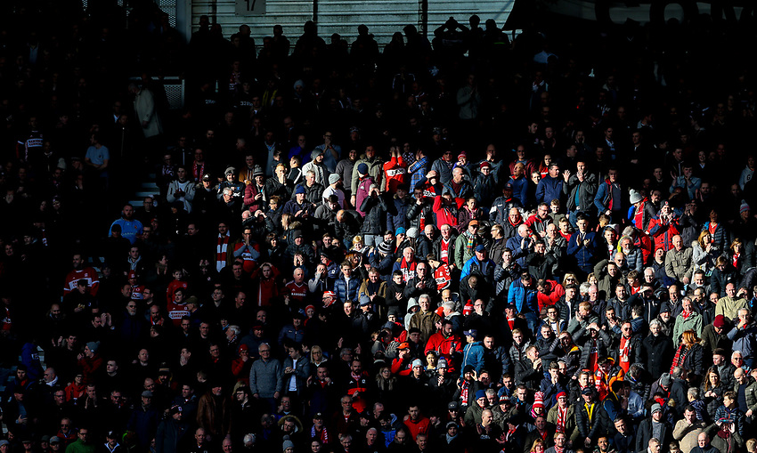 Middlesbrough fans sit in light and shade<br /> <br /> Photographer Alex Dodd/CameraSport<br /> <br /> The EFL Sky Bet Championship - Middlesbrough v Leeds United - Saturday 9th February 2019 - Riverside Stadium - Middlesbrough<br /> <br /> World Copyright © 2019 CameraSport. All rights reserved. 43 Linden Ave. Countesthorpe. Leicester. England. LE8 5PG - Tel: +44 (0) 116 277 4147 - admin@camerasport.com - www.camerasport.com