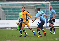 Newport County's Sean Rigg vies for possession with Blackpool's Jack Payne<br /> <br /> Photographer Kevin Barnes/CameraSport<br /> <br /> The EFL Sky Bet League Two - Saturday 18th March 2017 - Newport County v Blackpool - Rodney Parade - Newport<br /> <br /> World Copyright &copy; 2017 CameraSport. All rights reserved. 43 Linden Ave. Countesthorpe. Leicester. England. LE8 5PG - Tel: +44 (0) 116 277 4147 - admin@camerasport.com - www.camerasport.com