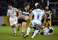 Nick Auterac of Bath Rugby looks to pass the ball. West Country Challenge Cup match, between Bath Rugby and Exeter Chiefs on October 10, 2015 at the Recreation Ground in Bath, England. Photo by: Patrick Khachfe / Onside Images