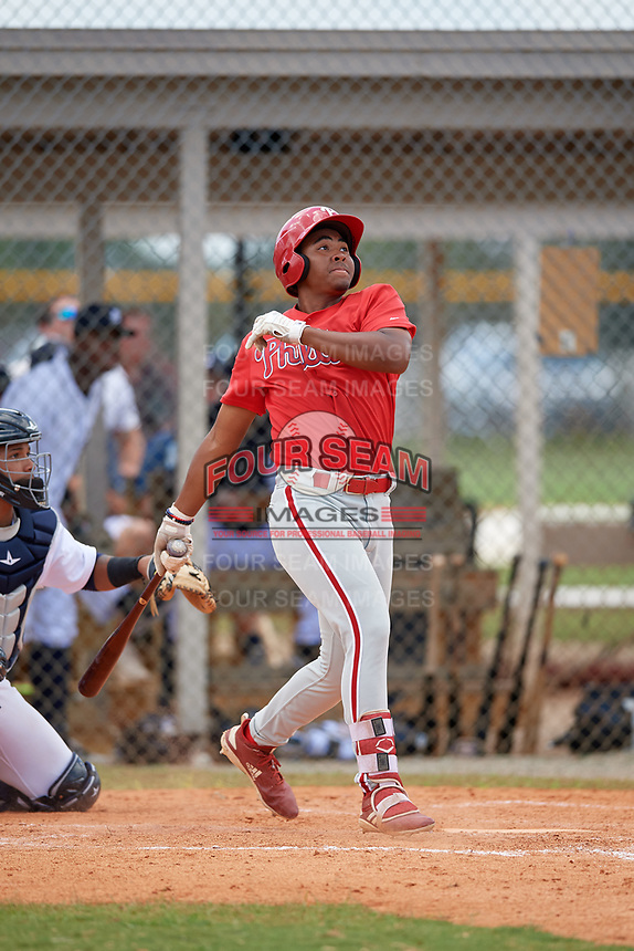 Philadelphia Phillies Marcus Lee Sang (9) at bat during an Instructional League game against the Detroit Tigers on September 19, 2019 at Tigertown in Lakeland, Florida.  (Mike Janes/Four Seam Images)
