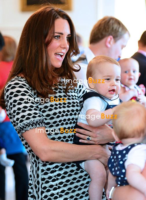 PRINCE GEORGE AND PARENTS KATE, DUCHESS OF CAMBRIDGE AND PRINCE WILLIAM<br /> attend an event for Plunket nurses at Government House, in Wellington, New Zealand. <br /> It was George&rsquo;s first official royal engagement.<br /> The informal meeting with 10 parents was held at Government House in Wellington. Nurses with Plunket, a non-profit childcare organization<br /> The Duke and Duchess of Cambridge and Prince George are on a tour of New Zealand and Australia_09/04/2014