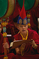 Buddhist Lama Monk chanting in a monastery. Sikkim