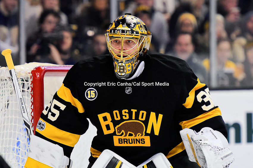 February 11, 2017: Boston Bruins goalie Anton Khudobin (35) tends net during the National Hockey League game between the Vancouver Canucks and the Boston Bruins held at TD Garden, in Boston, Mass. Boston defeats Vancouver 4-3 in regulation time. Eric Canha/CSM