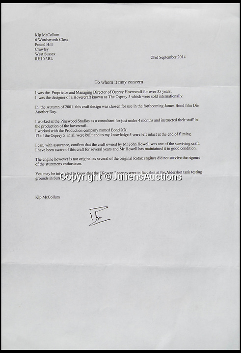 BNPS.co.uk (01202 558833)<br /> Pic: JuliensAuctions/BNPS<br /> <br /> ***Please Use Full Byline***<br /> <br /> The letter of authenticity for the hovercraft in the 007 James Bond film Die Another Day.<br /> <br /> Est: £30,000<br /> <br /> The iconic micro-jet flown by Roger Moore in Octopussy and the swivel chair used by super-villain Blofeld are among a host of props from James Bond movies coming up for sale.<br /> <br /> The 12ft long BD-5J red, white and blue aircraft, that is the world's lightest jet, was piloted by 007 in the opening scenes of Octopussy, outwitting his Cuban captors.<br /> <br /> The aircraft was actually built seven years before the film as part of an air display team and was hired for the 1983 Bond flick.