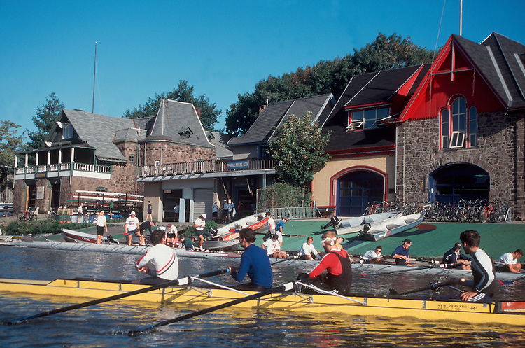 Rowing, Boathouse Row, Philadelphia, Rowers take to their racing shells for an afternoon workout on the Schuylkill River from Boat House Row - a famous bit of Philadelphia and United States Rowing architecture and history. Philadelphia, Pennsylvania, United States..