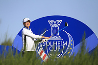 Charley Hull of Team Europe on the 8th tee during Day 1 Foursomes at the Solheim Cup 2019, Gleneagles Golf CLub, Auchterarder, Perthshire, Scotland. 13/09/2019.<br /> Picture Thos Caffrey / Golffile.ie<br /> <br /> All photo usage must carry mandatory copyright credit (© Golffile | Thos Caffrey)