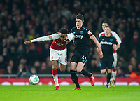 Arsenal's Joe Willock and West Ham's Declan Rice during the Carabao Cup QF match between Arsenal and West Ham United at the Emirates Stadium, London, England on 19 December 2017. Photo by Andrew Aleksiejczuk / PRiME Media Images.