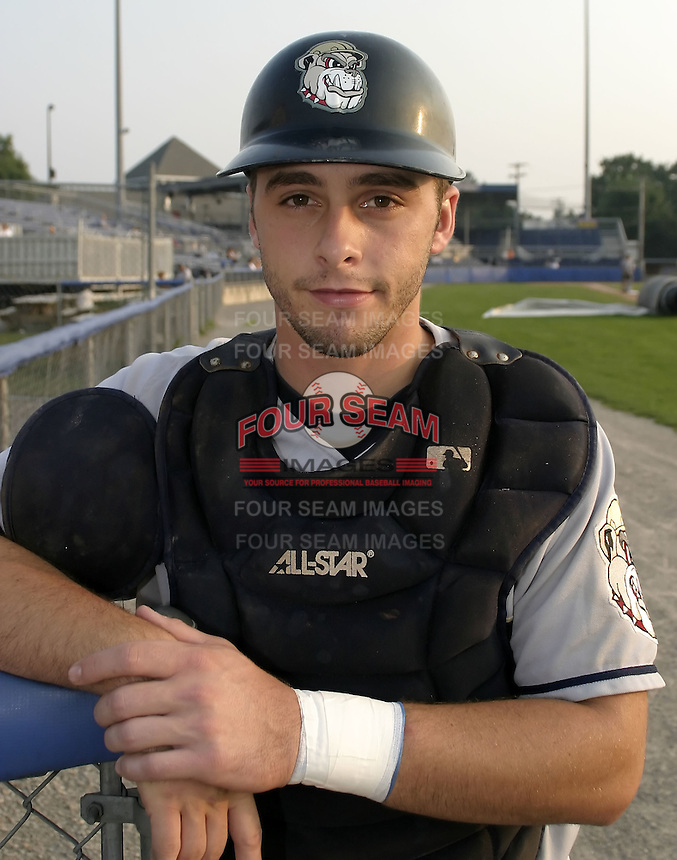 September 4, 2004:  Catcher Wyatt Toregas of the Mahoning Valley Scrappers, Short-Season Low-A NY-Penn League affiliate of the Cleveland Indians, during a game at Dwyer Stadium in Batavia, NY.  Photo by:  Mike Janes/Four Seam Images