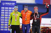 SPEEDSKATING: CALGARY: Olympic Oval, 01-12-2017, Podium 5000m Men Division A, Patrick Beckert (GER), Sven Kramer (NED), Ted Jan Bloemen (CAN), ISU World Cup, ©photo Martin de Jong