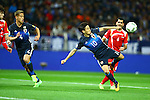 (L-R) Keisuke Honda, Shinji Kagawa (JPN), Mohamad Zaher Al Midani (SYR),<br /> MARCH 29, 2016 - Football / Soccer :<br /> Shinji Kagawa of Japan scores his team's second goal during the FIFA World Cup Russia 2018 Asian Qualifier Second Round Group E match between Japan 5-0 Syria at Saitama Stadium 2002 in Saitama, Japan. (Photo by Kenzaburo Matsuoka/AFLO)