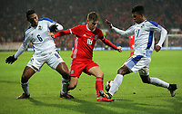 David Brooks of Wales (C) challenged by Luis Ovalle (L) and Luis Ovalle(R)  of Panama during the international friendly soccer match between Wales and Panama at Cardiff City Stadium, Cardiff, Wales, UK. Tuesday 14 November 2017.