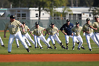 Notre Dame Fighting Irish warm up before a game vs the Penn State Nittany Lions at the Big East-Big Ten Challenge at Walter Fuller Complex in St. Petersburg, Florida;  February 20, 2011.  Notre Dame defeated Penn State 8-5.  Photo By Mike Janes/Four Seam Images