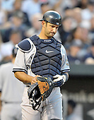 Baltimore, MD - August 31, 2009 -- New York Yankees catcher Jorge Posada (20) assumes his position in the second inning against the Baltimore Orioles at Oriole Park at Camden Yards in Baltimore, MD on Monday, August 31, 2009..Credit: Ron Sachs / CNP.(RESTRICTION: NO New York or New Jersey Newspapers or newspapers within a 75 mile radius of New York City)