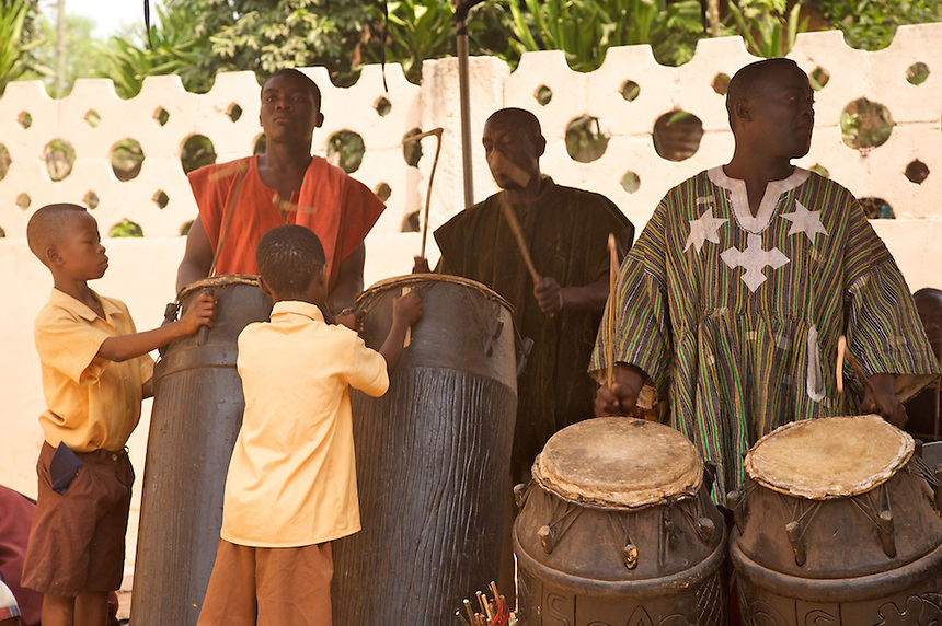 Ceremonial drummers, Agymenti, Ghana..Photograph by Peter E. Randall