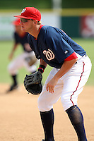 October 5, 2009:  First Baseman Brett Newsome of the Washington Nationals organization during an Instructional League game at Space Coast Stadium in Viera, FL.  Newsome signed as a non-drafted free agent.  Photo by:  Mike Janes/Four Seam Images