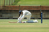November 4th 2017, WACA Ground, Perth Australia; International cricket tour, Western Australia versus England, day 1; England batsman Mark Stoneman ties his boot laces during his innings