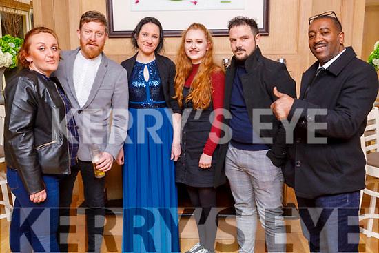 Celia Poljak, Rick Morgan, Karina Deodorovica, Megan Walsh, Alax Drechva and David Sow staff of the Rose Hotel enjoying their party in the Ballygarry House Hotel on Sunday.