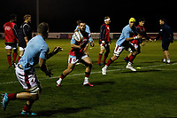 London Scottish players practice passing during the Championship Cup match between London Scottish Football Club and Yorkshire Carnegie at Richmond Athletic Ground, Richmond, United Kingdom on 4 October 2019. Photo by Carlton Myrie / PRiME Media Images