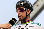 Slovakian National Champion Peter Sagan (SVK) Bora-Hansgrohe on stage at sign on before the 2019 Gent-Wevelgem in Flanders Fields running 252km from Deinze to Wevelgem, Belgium. 31st March 2019.<br /> Picture: Eoin Clarke | Cyclefile<br /> <br /> All photos usage must carry mandatory copyright credit (© Cyclefile | Eoin Clarke)