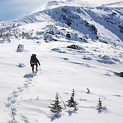 This is the image for January in the 2016 White Mountains New Hampshire calendar.  A winter hiker ascends the Air Line Trail in extreme weather conditions in the White Mountains, New Hampshire USA. The calendar can be purchased here: http://bit.ly/17LpoRV