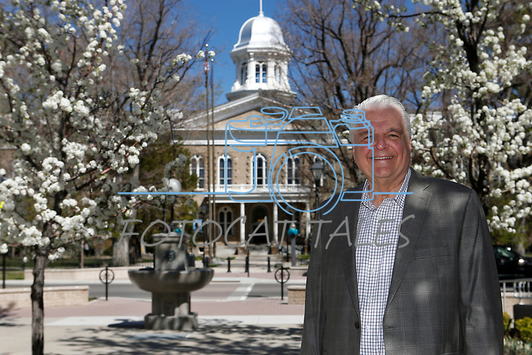 Nevada Gov. Steve Sisolak talks about his first 100 days in office, at the Capitol, in Carson City, Nev., on Thursday, April 18, 2019. (Cathleen Allison/Las Vegas Review-Journal)