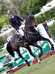 Spain's jockey Eduardo Marquez Caceres with the horse Rime de Longpre during 102 International Show Jumping Horse Riding, King's College Trophy. May, 20, 2012. (ALTERPHOTOS/Acero)