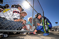 Feb 10, 2008; Daytona Beach, FL, USA; Nascar Sprint Cup Series driver J.J. Yeley signs autographs for fans during qualifying for the Daytona 500 at Daytona International Speedway. Mandatory Credit: Mark J. Rebilas-US PRESSWIRE