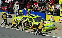 Apr 26, 2009; Talladega, AL, USA; NASCAR Sprint Cup Series driver Paul Menard pits during the Aarons 499 at Talladega Superspeedway. Mandatory Credit: Mark J. Rebilas-