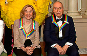Sesame Street co-founders Joan Ganz Cooney, left, and Dr. Lloyd Morrisett, right, two of the recipients of the 42nd Annual Kennedy Center Honors, pose as part of a group photo following a dinner at the United States Department of State in Washington, D.C. on Saturday, December 7, 2019.  The 2019 honorees are: Earth, Wind & Fire, Sally Field, Linda Ronstadt, Sesame Street, and Michael Tilson Thomas.<br /> Credit: Ron Sachs / Pool via CNP