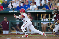 Indiana Hoosiers second baseman Chad Clark (29) follows through on his swing against the Mississippi State Bulldogs during Game 6 of the 2013 Men's College World Series on June 17, 2013 at TD Ameritrade Park in Omaha, Nebraska. The Bulldogs defeated Hoosiers 5-4. (Andrew Woolley/Four Seam Images)