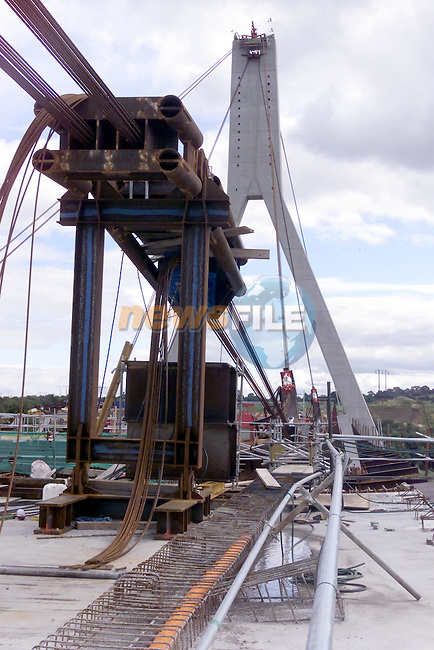 one of the large pulling units used in pulling the bridge across the Boyne..Picture Fran Caffrey Newsfile...This Picture is sent to you by:..Newsfile Ltd.The View, Millmount Abbey, Drogheda, Co Louth, Ireland..Tel: +353419871240.Fax: +353419871260.GSM: +353862500958.ISDN: +353419871010.email: pictures@newsfile.ie.www.newsfile.ie