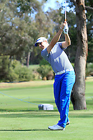 Pater Uihlein (USA) on the 2nd tee during Round 1 of the ISPS HANDA Perth International at the Lake Karrinyup Country Club on Thursday 23rd October 2014.<br /> Picture:  Thos Caffrey / www.golffile.ie