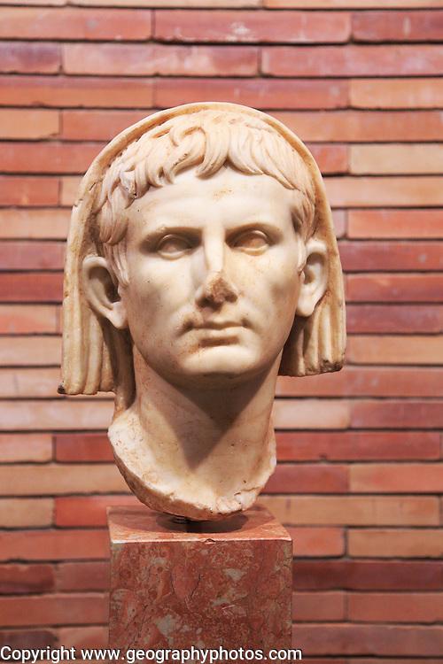 Head of Emperor Augustus, Museo Nacional de Arte Romano, national museum of Roman art, Merida, Extremadura, Spain
